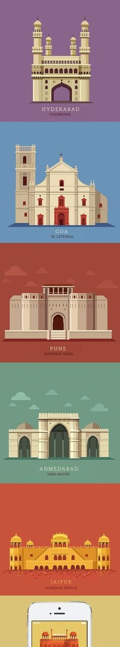 City Guide - Times Group by ranganath krishnamani, via Behance Building Illustration, Travel Illustration, Flat Illustration, Digital Illustration, Vector Design, Vector Art, Flat Design, Design Art, Minimal Art