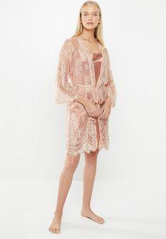 Lace robe - peach Superbalist Sleepwear | Superbalist.com Sleepwear Women, Lingerie Sleepwear, Hip Bones, Body Measurements, Peach, Sleeves, Clothes, Dresses, Design