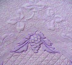 machine embroidery projects | Grape and Vine Trapunto Quilt with Machine Embroidery