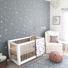 What a nursery for little Leo designed by Love this decor! What a nursery for little Leo designed by Love this decor! Double tap if you do too. Click the to shop the babyletto Lolly convertible crib! Baby Nursery Decor, Baby Bedroom, Baby Boy Rooms, Nursery Neutral, Baby Boy Nurseries, Baby Decor, Nursery Room, Kids Bedroom, Star Nursery