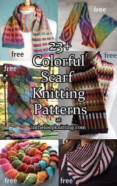 Colorful Scarf Knitting patterns including fair isle, entrelac, slipstitch colorwork, short rows, multi colored yarn and more
