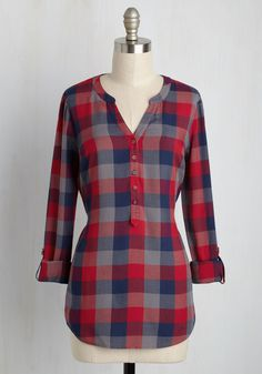 Anything can happen while wearing this plaid top from our ModCloth namesake label, but one thing is certain - the compliments will pour in! A classic style with a feminine twist, this tab-sleeved blouse offers a spectrum of shades from crimson to navy, self ties, and a chill aesthetic made for praising.