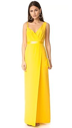 Diane von Furstenberg Womens Asymmetrical Side Slit Gown Daffodil 0 * Check this awesome product by going to the link at the image.-It is an affiliate link to Amazon. #fashiondresses