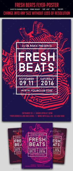 Fresh Beats Flyer / Poster Template PSD. Download here: http://graphicriver.net/item/fresh-beats-flyerposter/15533860?ref=ksioks