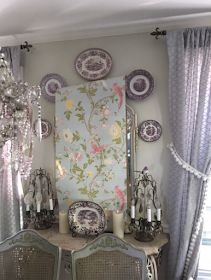 Maison Decor: Wallpapering the dining room, Rustic French Chateau style and Monet's Water Lilies Monet Water Lilies, Rustic French, Lavender Roses, French Chateau, Vintage Shabby Chic, Dining Room, Wallpaper, Furniture, Purple