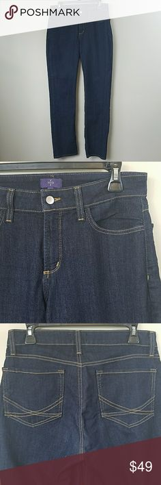 """NYDJ Straight Leg Dark Wash Jeans NYDJ Not Your Daughters Jeans Straight Leg Dark Wash Jeans.   Size 8.  Excellent, like new condition.  80% cotton, 19% polyester, 1% spandex. 15"""" across the waist.  10"""" rise.  32"""" inseam. NYDJ Jeans Straight Leg"""
