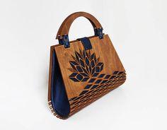 SALE Wood Handbag Silk Handbag Evening bag wooden bag