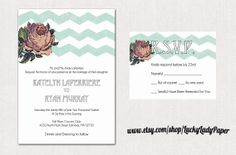 Modern Vintage Mint Watercolor Chevron and Cabbage Rose Invitation set by Luckyladypaper, via Etsy.