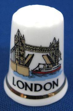 London England Thimble Tower Bridge Bone China Souvenir Sewing Thimble Souvenir