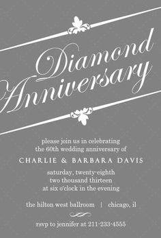 Finding the right wedding anniversary invitation wording elegant gray diamond 60th anniversary invitation stopboris Choice Image