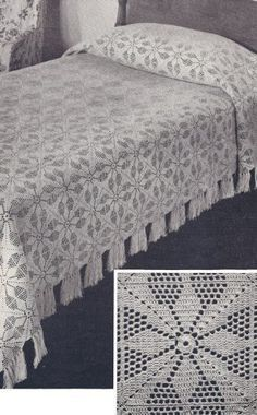 Vintage Crochet PATTERN to make – MOTIF Block Bedspread in Vespers Filet Crochet Design. NOT a finished item. This is a pattern and/or instructions to make the item only. Vintage Häkelmuster zu machen – MOTIF Block Tagesdecke i … Bead Crochet, Filet Crochet, Crochet Motif, Crochet Lace, Crochet Stitches, Crochet Bedspread Pattern, Crochet Tablecloth Pattern, Vintage Crochet Patterns, Crochet Designs