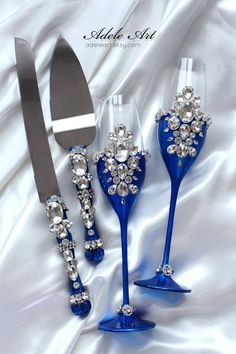 weddings - BLUE Wedding Flutes set,champagne flutes & set for cake, Luxury traditional, champagne glasses, Wedding Toasting Glasses, Wedding Champagne Flutes, Champagne Glasses, Crystal Champagne, Wedding Bottles, Toasting Flutes, Quince Decorations, Quinceanera Decorations, Royal Blue Wedding Decorations