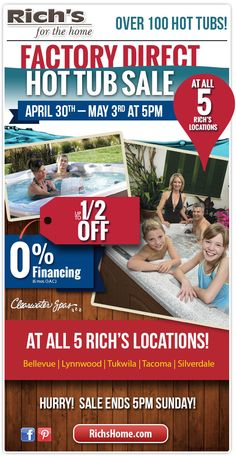 Factory-Direct hot tub sale through Sunday, May 3, 2015.