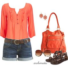 """Casual Coral"" by archimedes16 on Polyvore"