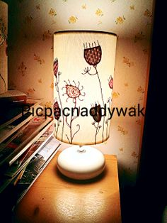 Freehand machine embroidery applique lampshade by Picpacnaddywak.