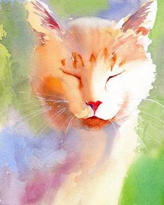 White Ginger Marmalade Tabby Cat art Print of my watercolor painting Big Large Huge Giclee Custom Hand Painted