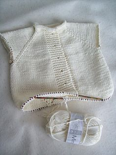 my gauge is correct x at with needles but the cardi is huge cardi width = : it's a french months size, not a months ! pattern needs a lace chart… I drew it. Baby Knitting Patterns Free Newborn, Baby Staff, Cool Paper Crafts, Knitting Blogs, Yarn Needle, Cupid, Baby Hats, Ravelry, Free Pattern