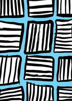 Painted and digital blue/white/black pattern - Sarah Bagshaw