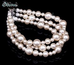 Pick your color Bridal Pearl Bracelet 3 rows by OliniBridalJewelry, $30.00