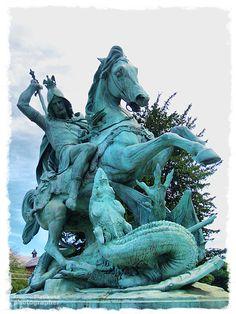 St. George fighting the dragon by Dominik Ritter von Fernkorn, 1853. in Zagreb, Croatia