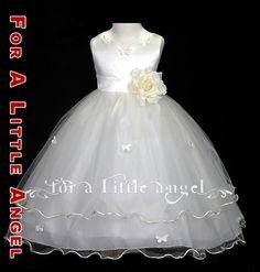 New Flower Girl Rose Butterflies Wedding Dress 2 4 6 8   eBay