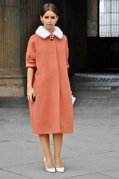 Gorgeous and always elegant Miroslava Duma in coral coat with white mink collar detail. www.hockleylondon.com #fur #fashion #vogue #style #hockley #london #furs