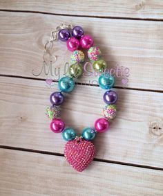 Pink heart pink rainbow  chunky necklace by MyLilSweetieBoutique
