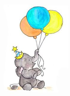 Oh Happy Day - Archival Print - Baby-Karten - Elephant Art, Baby Elephant, Tattoo Elephant, Watercolor Illustration, Watercolor Art, Baby Art, Baby Prints, Nursery Art, Happy Day