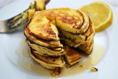 Meyer Lemon and Ricotta Pancakes - Brooklyn Supper (Vegetarian Wheat Dairy Fruit Gluten Egg products Animal products The cake of breakfast Meyer For A Day Salt Ricotta cheese Flour Butter Eggs Meyer lemons Baking powder Sugar)