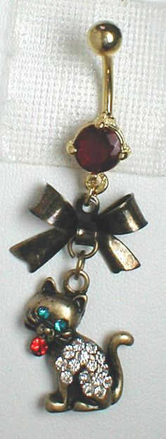 Unique Belly or Navel Ring - Kitty Cat Pendant On A Belly Ring. $9.95, via Etsy.