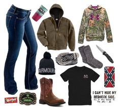 """All my friends from up north have 30 inches of snow, all I got was rain and wind :)"" by im-a-jeans-and-boots-kinda-girl on Polyvore featuring Bullet, Carhartt, Under Armour, Justin Boots, BKE, John Deere and Realtree"