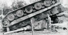 A Panzerkampfwagen Ausf. B Königstiger (Henschel Production turret) of Schwere Heerespanzerabteilung 503 having been flipped during a carpet bombing in Operation Goodwood.