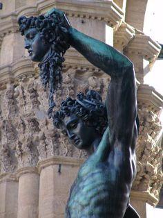 ♞ HIS DARK NOSTALGIA....Medusa Statue of Perseus with the Head of Medusa (bronze sculpture) by Benvenuto Cellini (1554); Piazza della Signoria; Florence, Italy