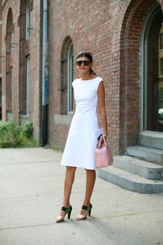 Why dresses rule: they're efficient (one piece of clothing vs. two or three), and all you have to do is find a pair of shoes and a bag - done, the look is complete. I am trying to become braver about wearing white, esp in the summer - doesn't it look so cool and refreshing?