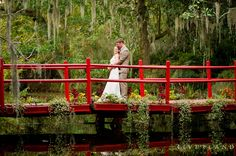 Romantic shot of newlyweds on the red bridge at Magnolia Plantation and Gardens