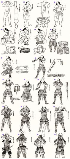 The steps needed for a samurai to equip his armor. Holy Moley !!! It's a wonder they weren't cut down in droves. But then, I know that most confrontations were also planned in most instances. Still, undressed or not that sword was never far away. ~D~