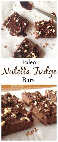 Paleo Nutella Fudge Bars are an unbelievable healthy dessert that taste like a mix between nutella and a fudge brownie! YUM! | paleo dessert | coconut flour recipe | Low carb dessert | healthy chocolate dessert | Gluten-free dessert |