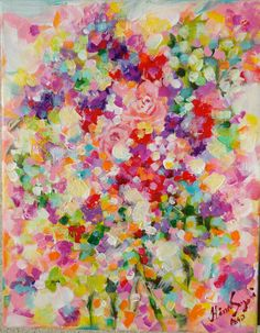 Original+Abstract+Roses+Flowers+Painting+on+por+PeacockExpressions,+$65,00