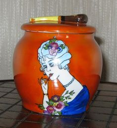 Art Deco Noritake Luster Ware Tobacco Jar Humidor Lady Smoking Pipe Lid