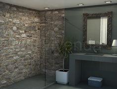 Diseño baño 4.60m2 #Reformas baños Bathroom Lighting, Bathtub, Rustic, Mirror, Diy, Design, Home Decor, Shower Bathroom, Bathrooms