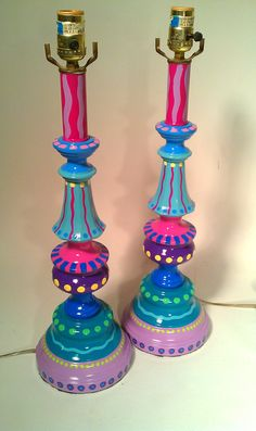 Hand Painted Table Lamp 007 Fun Funky Whimsical and by LisaFrick, $99.99