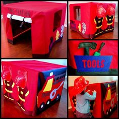 Utah County Mom: Fire Station Card Table Tent - can use same idea to make a girl's play house over a card table Sewing For Kids, Diy For Kids, Crafts For Kids, Diy Crafts, Card Table Playhouse, Table Tents, How To Make Fire, Family Crafts, Table Cards