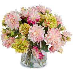 New Growth Designs Dahlia Mix Bouquet Faux Flower Arrangement (2.695 RON) ❤ liked on Polyvore featuring home, home decor, floral decor, flowers, fillers, plants, backgrounds, decor, fake flowers and silk flower arrangement