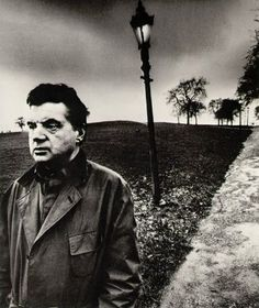 Excellent framing with Francis Bacon looking out of shot and diagonal created by path. Typical moody Brandt sky by Bill Brandt, 1963