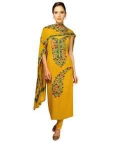 Kashmiri Sozni ( Needlepoint)  & Aari ( crewel) Hand Embroidered Pure Georgette Suit With Dupatta
