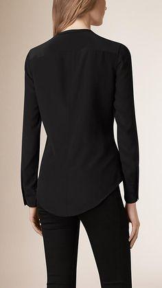 Black Bib Detail Silk Shirt - Image 2