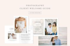 Create a unique magazine to guide your new soon to be brides up to their big day. This magazine template includes pre-written content to walk couples through their engagement sessions, bridal sessions, as well as what to can expect on their wedding day. All spreads come as individual PSD files, so you can make your magazine as short or as long as you'd like! Photography Templates, Photography Pricing, Senior Photography, Wedding Photography, Bridal Session, Engagement Session, Minimal Wedding, Photographer Branding, Magazine Template