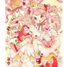 Cute Animal Drawings Kawaii, Kawaii Art, Cute Drawings, Kawaii Anime, Cute Food Art, Cute Art, Anime Girl Cute, I Love Anime, Anime Chibi