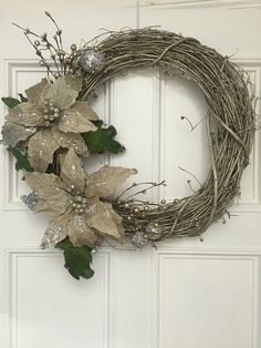 What a beautiful day for a gold Christmas wreath!! Ava and I made this from a 18 grapevine wreath . Just the right muted color gold with lovely gold flowers and silver balls. We had fun making this one and know you will like it too There is a loop on the back for easy hanging. This wreath needs to be protected from the elements also.