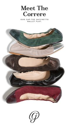 Whether in lush, colorful suede or supple, neutral nappa, the Correre sacchetto ballet flat with its accent cap toe raises the bar on any basic outfit. Elevate your look, shop the Correre.